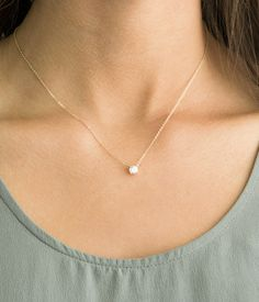 Delicate CZ Necklace / Tiny Diamond Pendant 14k by LayeredAndLong