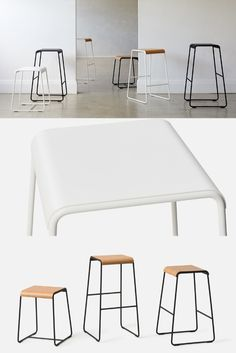 The S2 Stool from David Moreland Design celebrates curves and attention to detail. The seat and frame nest together with only a thin edge profile visible. Available in three heights and with black or white frame. The seats are also available with or without American oak plywood.