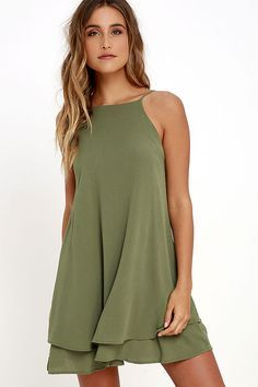 Cute Olive Green Dress - Swing Dress - Sun Dress - $45.00