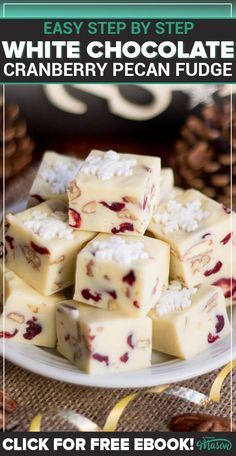 This beautifully festive White Chocolate Pecan Cranberry Fudge will make the perfect gift this Christmas. It's CRAZY quick & easy to make! Fudge Recipes, Candy Recipes, Chocolate Recipes, Cookie Dough Fudge, Microwave Fudge, White Chocolate Cookies, Christmas Baking, Christmas Recipes, Christmas Treats