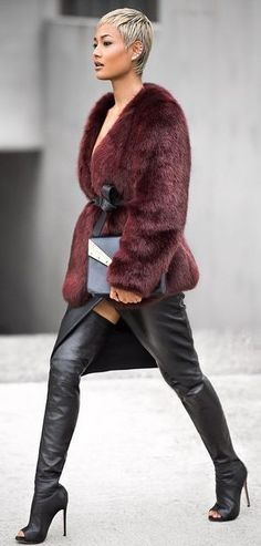 Black And Burgudy Winter Chic Outfit by Micah Gianneli
