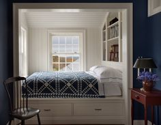 Cozy built-in bed in a Columbia County, New York farmhouse by John B. Murray, Architect.