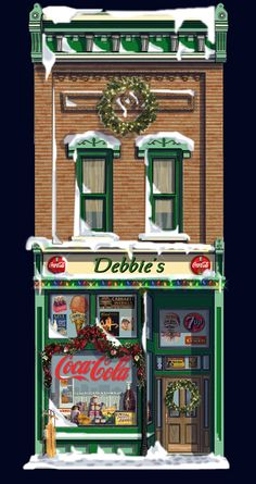 Manistee MI ...Winter Christmas Scenes, Christmas Villages, Free Paper Models, Building Illustration, Model Train Layouts, Facade House, Model Trains, Facades, Beautiful Christmas