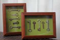 Antique key shadow boxes
