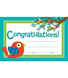"The contemporary Boho Birds design creates a cheerful and inspirational award that students will be proud to receive. Easy to personalize and customize to any occasion and student. Available in packs of 30. Great to have on hand to celebrate students' accomplishments and achievements. Look for coordinating products in the Boho Birds design to create an exciting classroom theme! Each sheet measures 5 ½"" x 8 ½""."