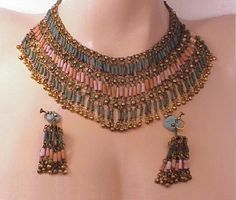 1920s egyptian revival necklace + earrings.