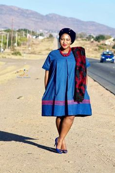 sepedi traditional wear for African women - shweshwe African Dresses For Women, African Print Dresses, African Fashion Dresses, African Attire, African Wear, African Women, African Clothes, Pedi Traditional Attire, Sepedi Traditional Dresses