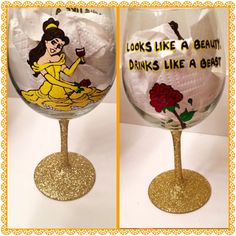 Beauty and the Beast wine glass. #etsy #beautyandthebeast #belle