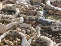 Spices for Sale at a Market Stand, Osh, Kyrgyzstan, Central Asia, Asia