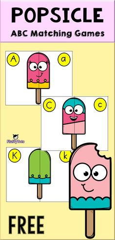If your kids love popsicles, you definitely would want to get this fun Popsicle ABC Matching for her. Learning Letters, Alphabet Activities, Teaching Kids, Kids Learning, Activities For Kids, Kindergarten, Preschool Literacy, Preschool Director, Matching Games