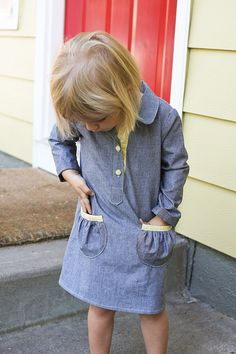 I need a girl! Too many cute dresses to sew!// jump rope dress in chambray