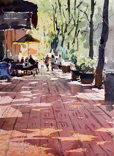 Yong Hong Zhong, Lunch break. Kids Watercolor, Watercolor Sketch, Watercolor Portraits, Watercolor Landscape, Watercolor Paintings, Drawing Artist, Sketch Painting, Artist Painting, Urban Sketchers