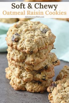 Soft and chewy Oatmeal Raisin Cookies are a family favorite dessert around our house. Filled with raisins and cinnamon goodness, they're a scrumptious cookie recipe just waiting to be baked. #oatmealcookie #cookies #desserts #oatmeal