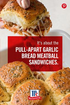 Transform store-bought rolls into garlic bread with McCormick Garlic Powder and Perfect Pinch Italian Seasoning. With only 10 minutes of prep, you can spend less time at the stove and more time with guests. Melty, cheesy, easy, these meatball sandwiches t Appetizer Recipes, Dinner Recipes, Appetizers, Party Recipes, Beef Recipes, Cooking Recipes, Recipies, Super Bowl Essen, Comfort Food