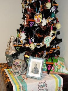 Day of the Dead tree - think I'll use a tree branch so the ornaments stand out more.