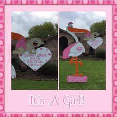 Giant 7 ft Stork Yard Sign for a new baby girl! From Flamingos 2 Go