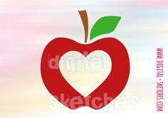 Apfel+Plotterdatei+Love+Heart+svg+dxf+Plotter+von+Digital-Sketches+auf+DaWanda.com
