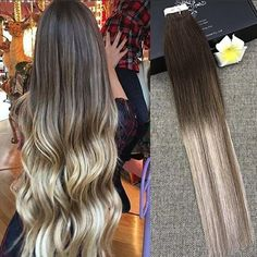 Glue in Extensions Human Hair Blonde Balayage Ombre Color – Full Shine