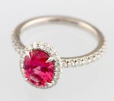 Mahenge Spinel and Diamond Ring