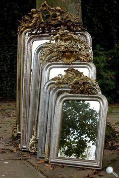 gro-e-sammlung-von-franz-sischen-und-italienischen-antiken-spiegeln