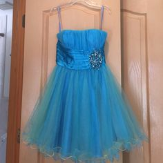 Aqua Blue with Stones Party dress Worn once, has a light greenish undertone Dresses