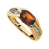 Madeira Citrine & Diamond Accented Bridge Design Ring
