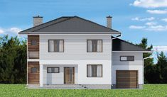 modern and functional two-storey house with an elegant architectural form. Elevation is finished with white walls and classic wood texture [. House Construction Plan, Model House Plan, Cabin House Plans, Two Storey House, Hip Roof, Cabin Homes, Wood Texture, Home Fashion, White Walls