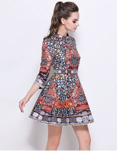 48db984397c2 Show details for Comino Couture Skater Dress in Folk Print   Embellishment  With Sleeves