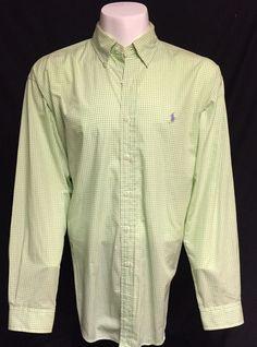 Ralph Lauren Green White Checked X-Large Long Sleeve Button Front Shirt XL #RalphLauren #ButtonFront