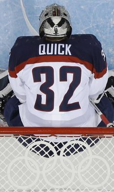 USA Goaltender Jonathan Quick stands in the net during the second period of the game against Slovakia at the 2014 Winter Olympics Men's Ice Hockey Tournament at Shayba Arena, Thursday, Feb. 13, 2014 #TeamUSA