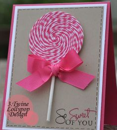 diy cards | Twine Lollypop Design Card DIY | Pixi Wishes & Forehead Kisses
