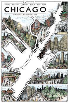 """Chicago: The Marathon Map (12"""" x 18"""")"""