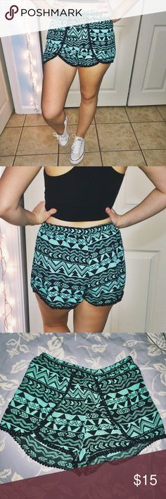 Aztec Design Shorts 💎 These shorts are so cute and the light weight material is perfect for hot summer days. The design of the shorts wrap around into overlapping pieces in the front with an almost lace trim. The shorts have been only worn once with no visible flaws. The size on the tag reads a medium but I believe they fit a bit smaller.  Unknown Brand.                                                               *100% POLYESTER *                                              💜PLEASE SEND…