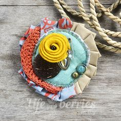 FREE SHIPPING Fabric brooch crochet brooch textile by Lifeberries