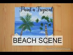 Have a great time with friends, paint a tropical beach scene together. This free and easy tutorial will take you step by step. A great paint party painting! Acrylic Tutorials, Art Tutorials, Painting Lessons, Painting Tips, Rock Painting, Watercolor Painting, Easy Canvas Painting, Acrylic Paintings, Canvas Art