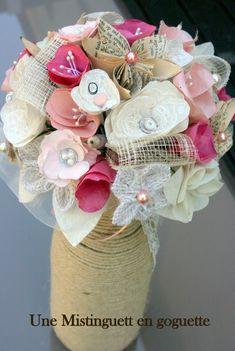 bouquet de mariée papier et tissu School