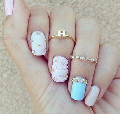nails, pink, and rings kép