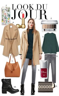 Look Du Jour: Fransastisch! Green oversize sweater+grey denim+black midi boots+camel coat+camel handbag or black and white clutch. Fall Outfit 2016