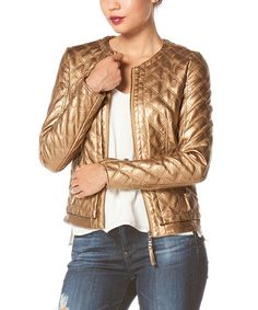 Loving this Gold Quilted Faux Leather Jacket on #zulily! #zulilyfinds