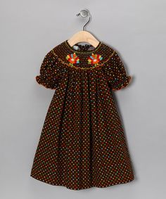 Take a look at this Brown Turkey Corduroy Dress - Infant, Toddler & Girls by Petite Palace on #zulily today!    Is it too early to buy a Thanksgiving dress for Abby-for next year?