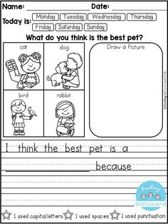 FREE 10 Kindergarten Writing Prompts with 2 option (A total of Pages). With sentence starters and without sentence starters for advance writers. This pack is great for beginning writers or struggling writers in kindergarten and in first grade to bu Kindergarten Writing Prompts, Daily Writing Prompts, Kindergarten Literacy, Teaching Writing, Writing Skills, Writing Process, Writing Ideas, Writing Worksheets, Kindergarten Handwriting