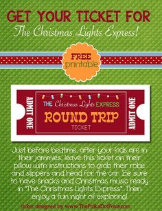 Free Printable Tickets for The Christmas Lights Express!