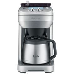 Breville The Grind Control Coffee Maker ($300) ❤ liked on Polyvore featuring home, kitchen & dining, small appliances, stainless, breville coffee maker, stainless steel coffee maker, breville, stainless steel grinder and stainless coffee maker