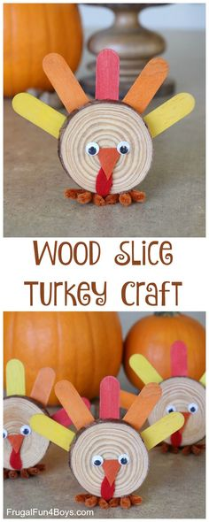 Here's a cute little turkey craft that will look adorable on the Thanksgiving table, and they are so simple to make! Kids will enjoy creating these wood slice turkeys. Make them with a class or make them at home, either way it's a project you'll want to save! Last year, we made wood slice owls, and we had a few wood slices left over. I asked my 11 year old if he had any ideas for how we could create turkeys, since he loves craft projects. He suggested craft sticks for feathers...