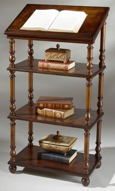 BOOKSHELVES - WESTWOOD LIBRARY STAND - DICTIONARY STAND - BOOKSHELF - CHERRY #Traditional
