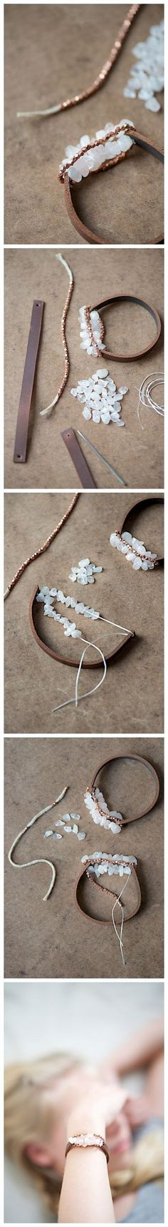 Chunky Leather Bracelet Community Post: 24 Super Easy DIY Bracelets--do with fabric? Leather Jewelry, Wire Jewelry, Jewelry Crafts, Beaded Jewelry, Jewelery, Handmade Jewelry, Beaded Bracelet, Leather Bracelets, Leather Cord