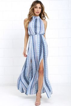 dac0863425a Being greeted by the Daily at Dawn Light Blue Print Halter Maxi Dress is  definitely the