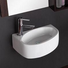 Saxon Vitreous China Wall-Mount Bathroom Sink - Left Side Faucet Drill – Magnus Home Products Bathroom Wall Cabinets, Bathroom Sink Faucets, Bathroom Layout, Bathroom Ideas, Bathroom Organization, Remodel Bathroom, Bath Ideas, Bathroom Mirrors, Bathroom Storage