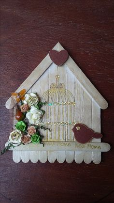 """Wooden Crafts """"New Home"""" house in browns and gold. Bird, flowres and cage. By CAM Wooden Christmas Crafts, Diy Christmas Cards, Wooden Crafts, Diy Popsicle Stick Crafts, Decor Crafts, Diy Crafts, Diy Lace Ribbon Flowers, Stick Art, Winter Crafts For Kids"""