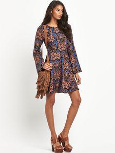 South Bell Sleeve Print Dress   very.co.uk